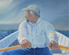 Rowing an oil painting for the book The Superb Voyage of Stewart the cat by Maine American  artist Amy Peters Wood